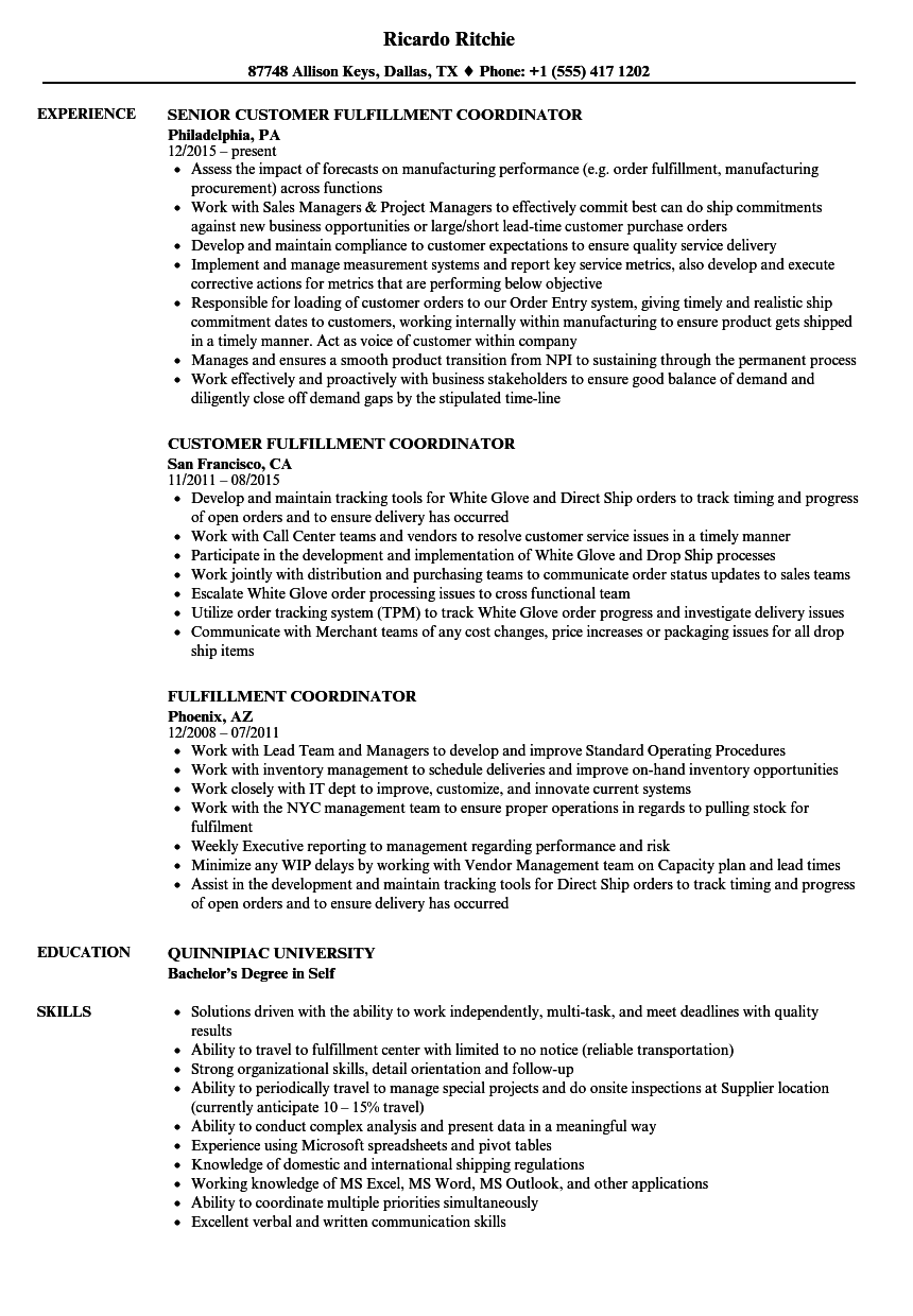 fulfillment coordinator resume samples