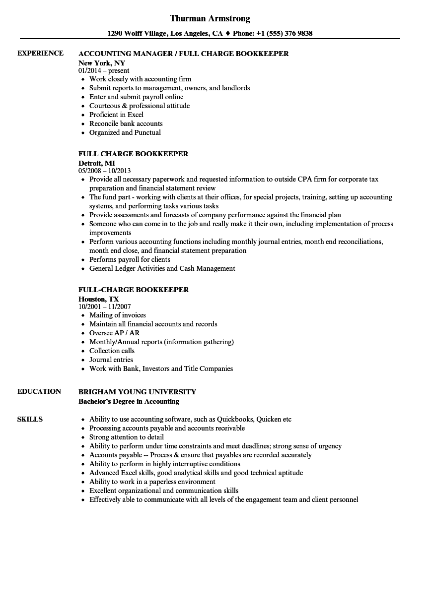 full charge bookkeeper resume sample as image file - Full Charge Bookkeeper Resume