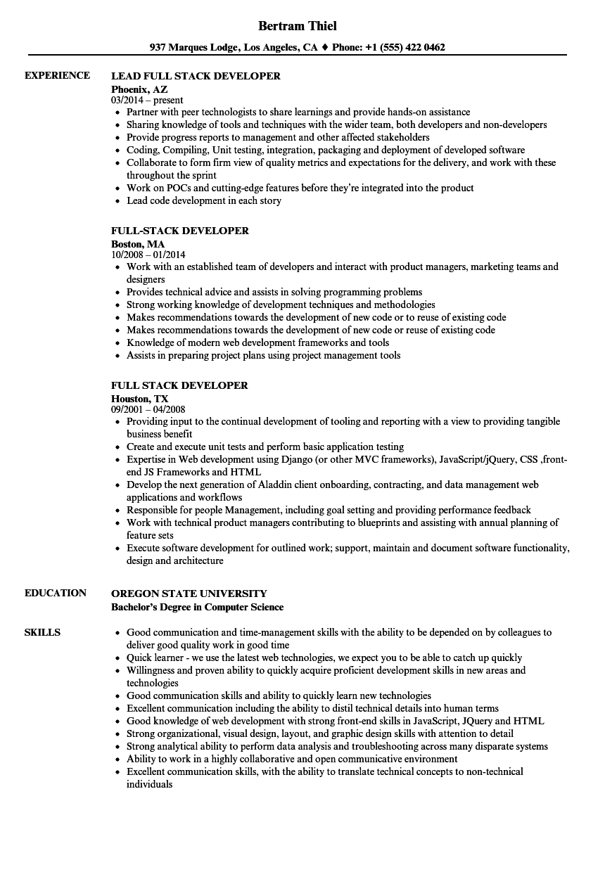 Full Stack Developer Resume Sample Vvengelbert Nl