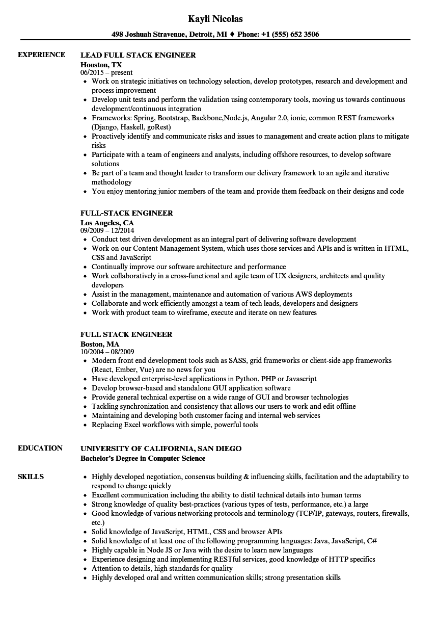 full stack engineer resume samples