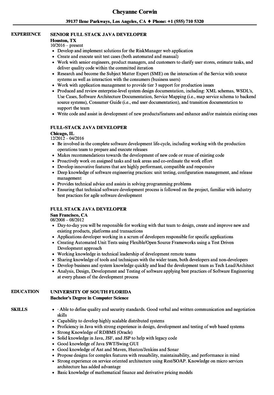 Resume For Java Developer