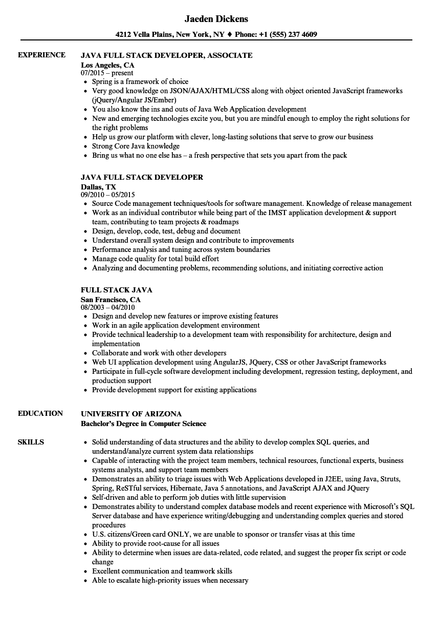 Full Stack Java Resume Samples   Velvet Jobs