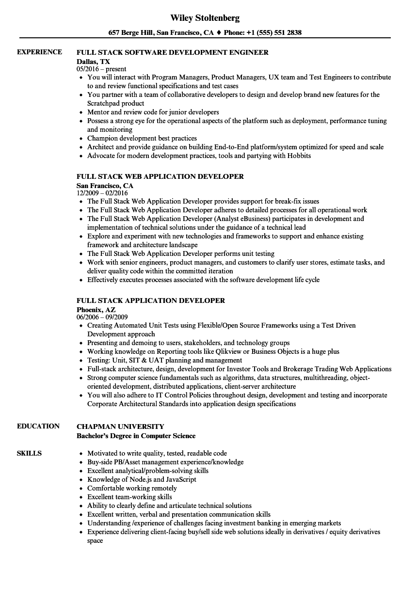 download full stack resume sample as image file