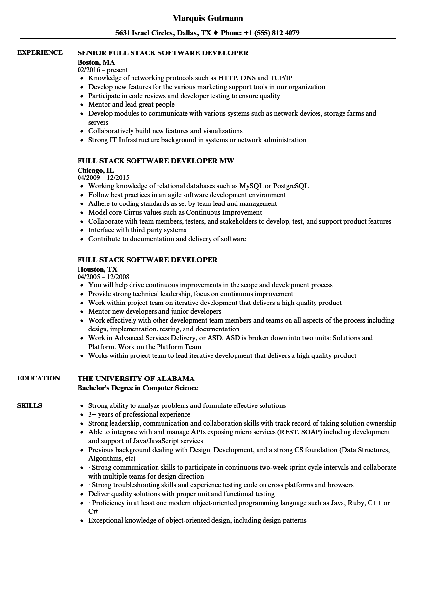 Full Stack Software Developer Resume Samples | Velvet Jobs