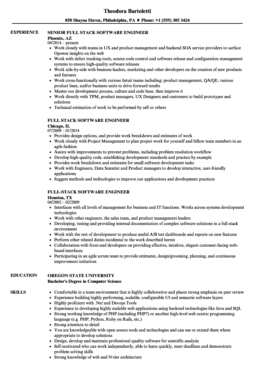 Full Stack Software Engineer Resume Samples | Velvet Jobs