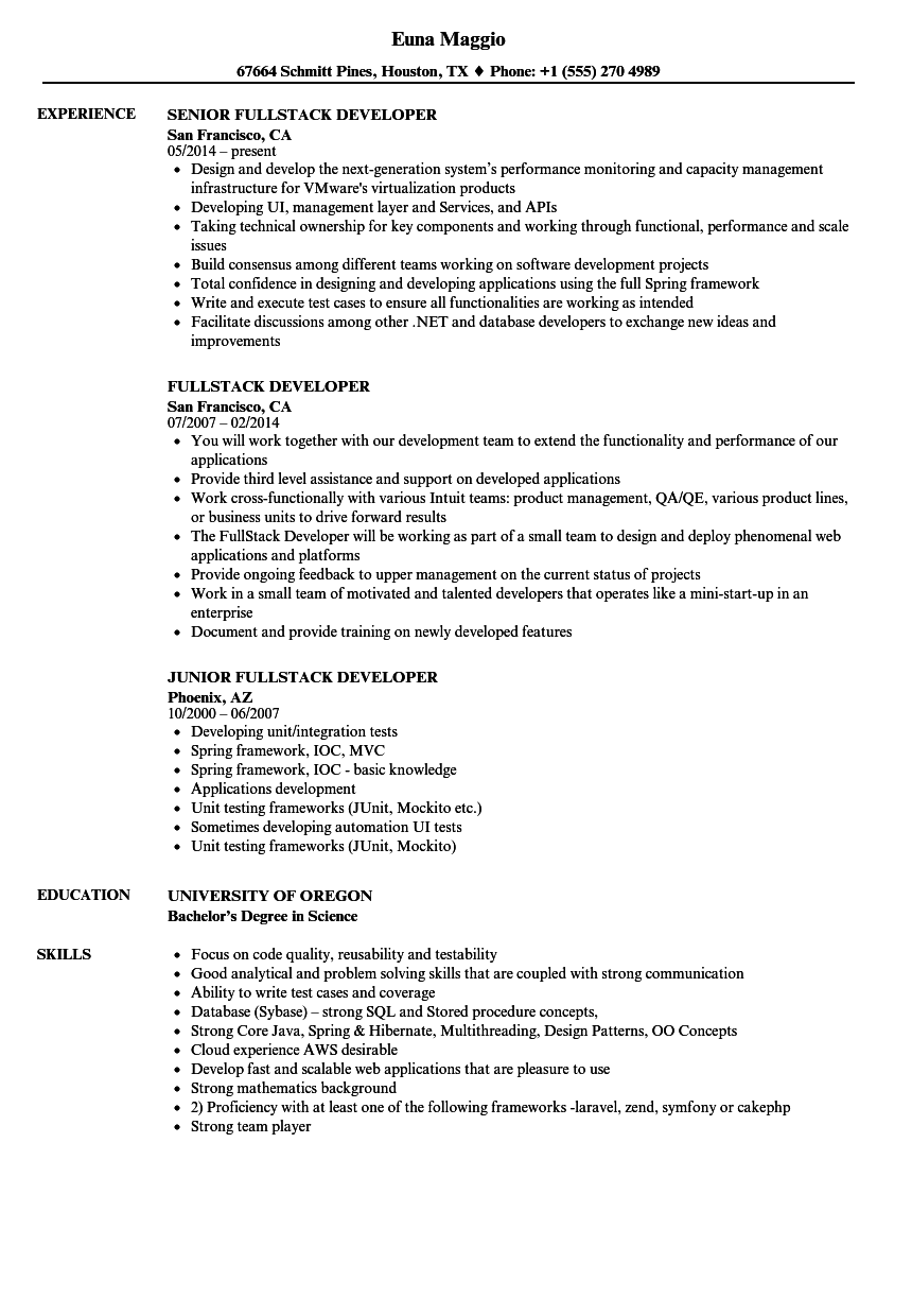 fullstack developer resume samples velvet jobs