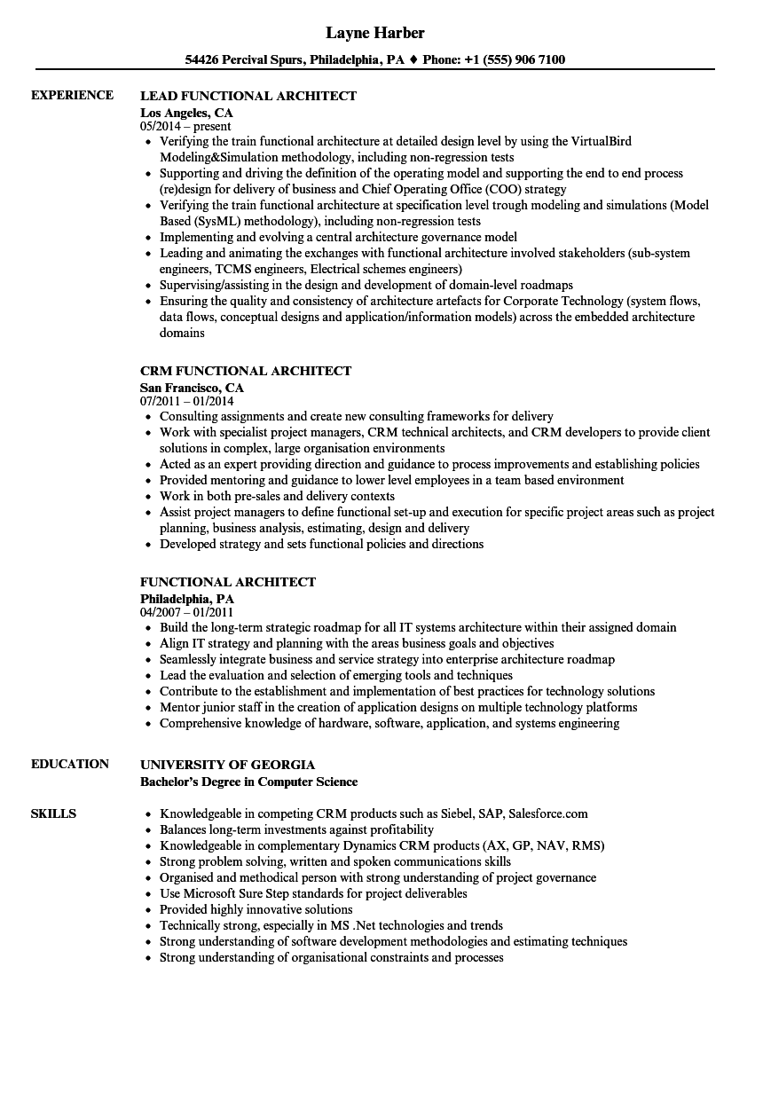 functional architect resume samples