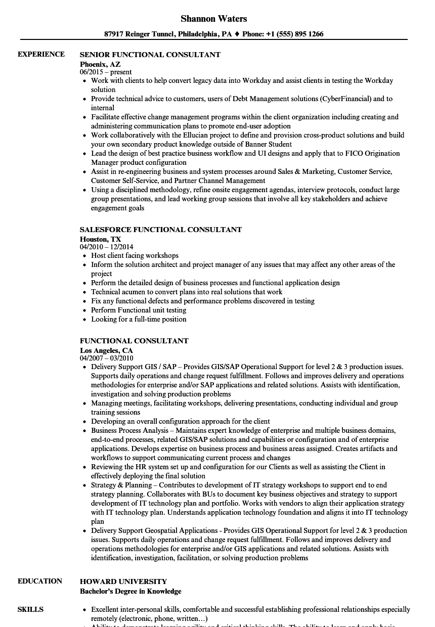 Functional Consultant Resume Samples | Velvet Jobs