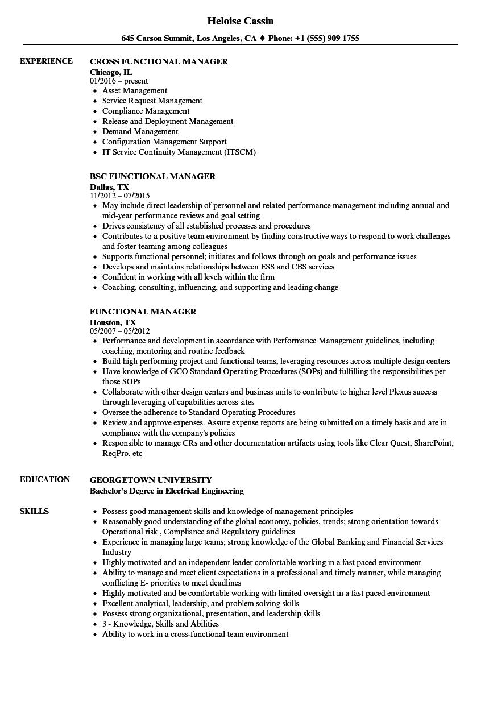 Functional Manager Resume Samples | Velvet Jobs