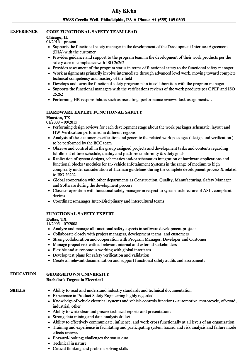 Functional Safety Resume Samples Velvet Jobs