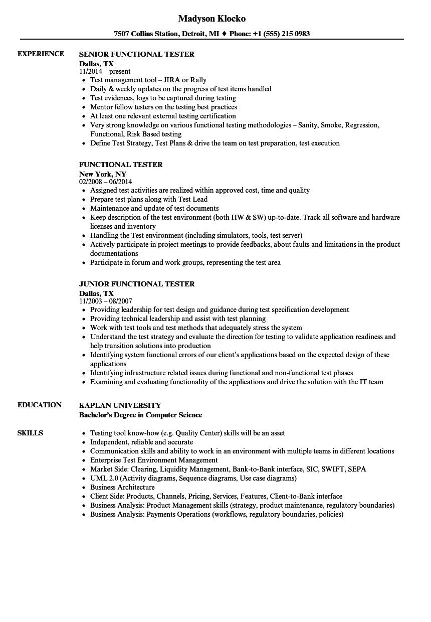 Functional Tester Resume Samples | Velvet Jobs