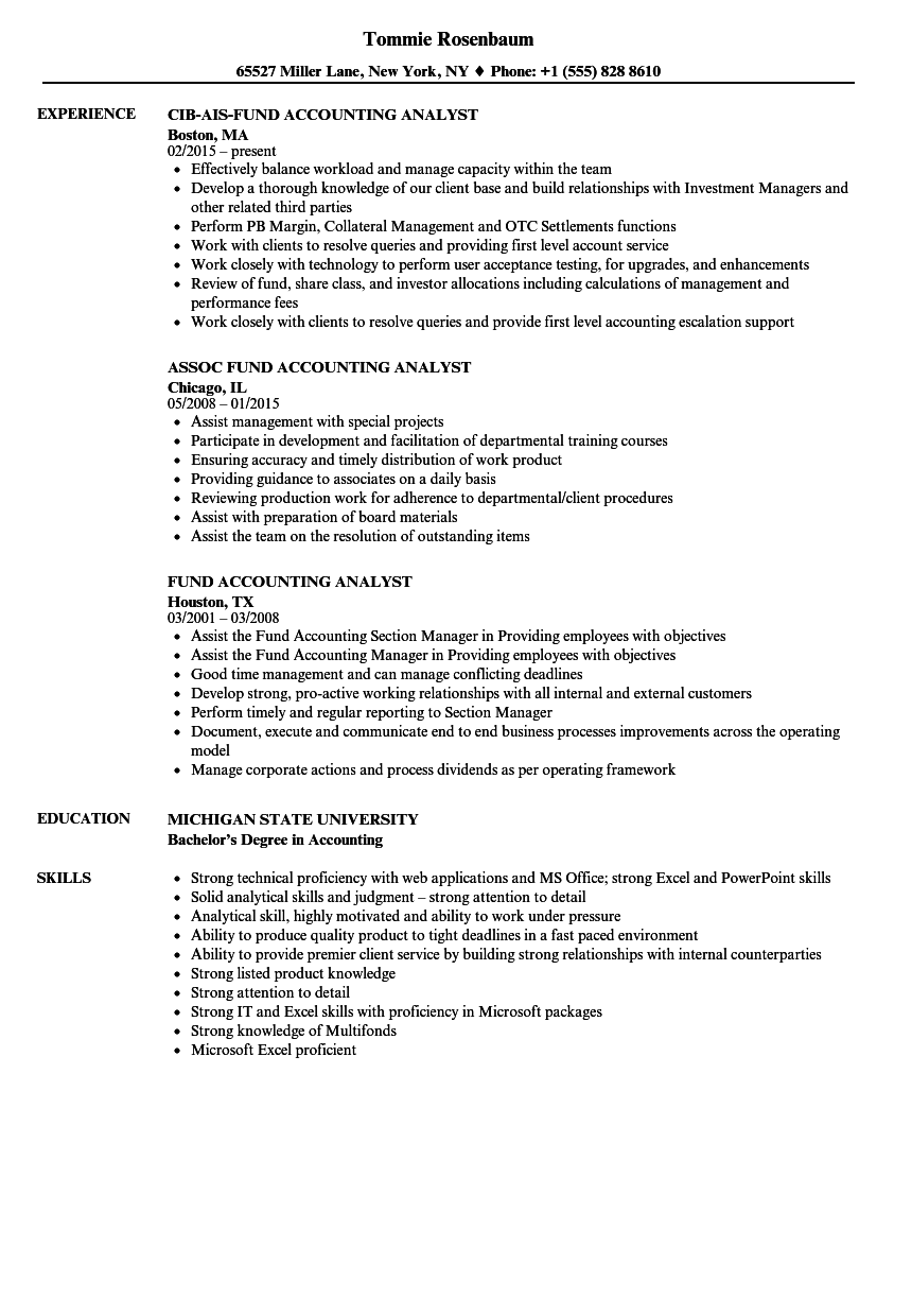 Fund Accounting Analyst Resume Samples | Velvet Jobs