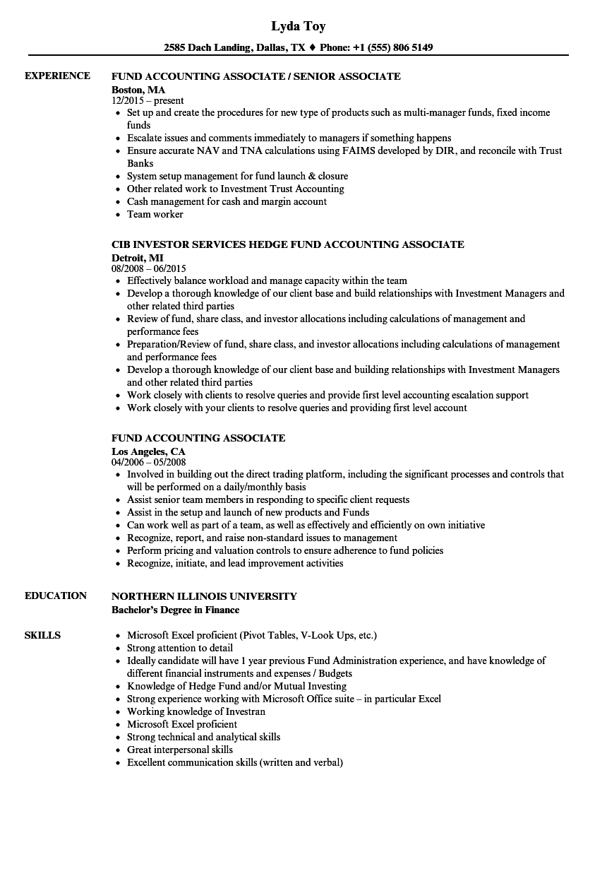 fund accounting associate resume samples