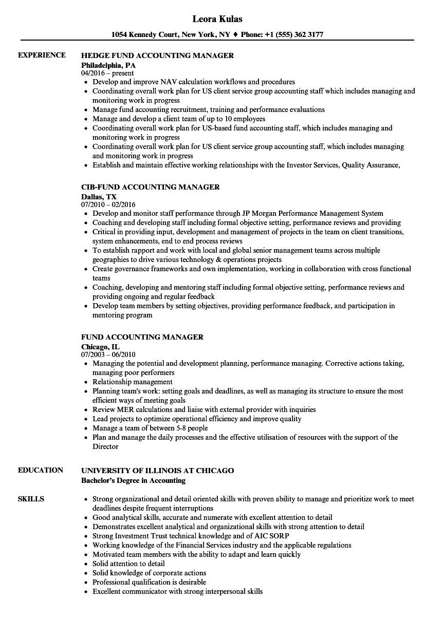 Fund Accounting Manager Resume Samples | Velvet Jobs