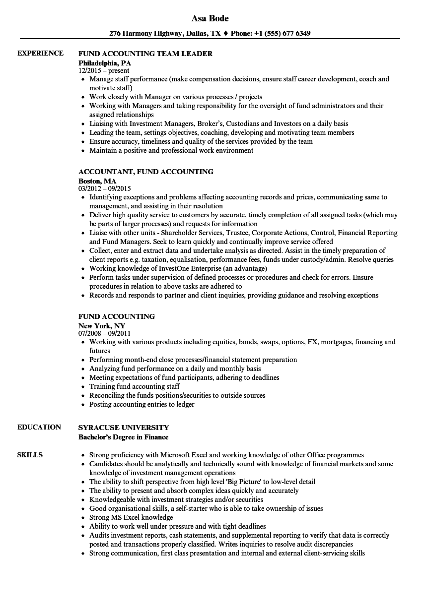 Fund Accounting Resume Samples | Velvet Jobs