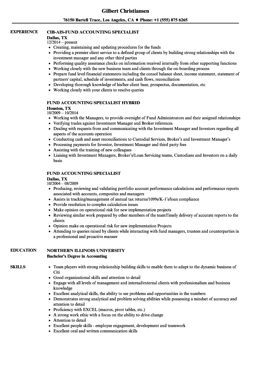 Accounting Specialist Resume Alluring Fund Accounting Specialist Resume Samples  Velvet Jobs