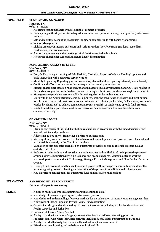 Fund Admin Resume Samples | Velvet Jobs