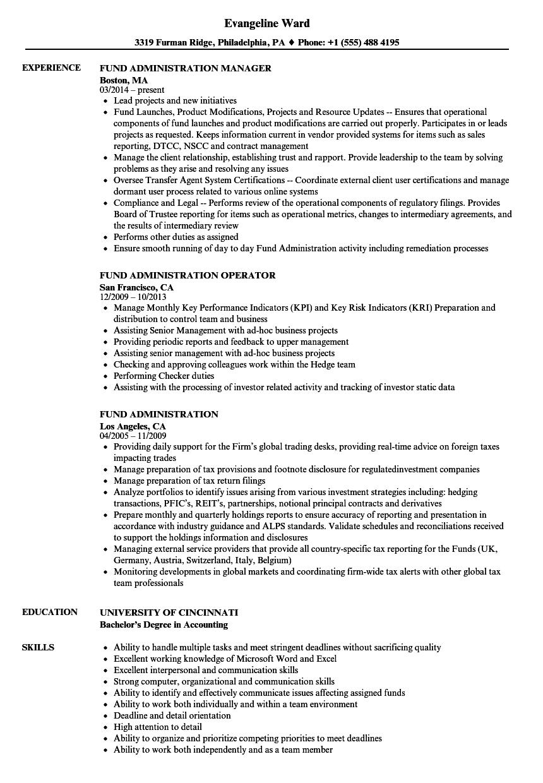Fund Administration Resume Samples Velvet Jobs