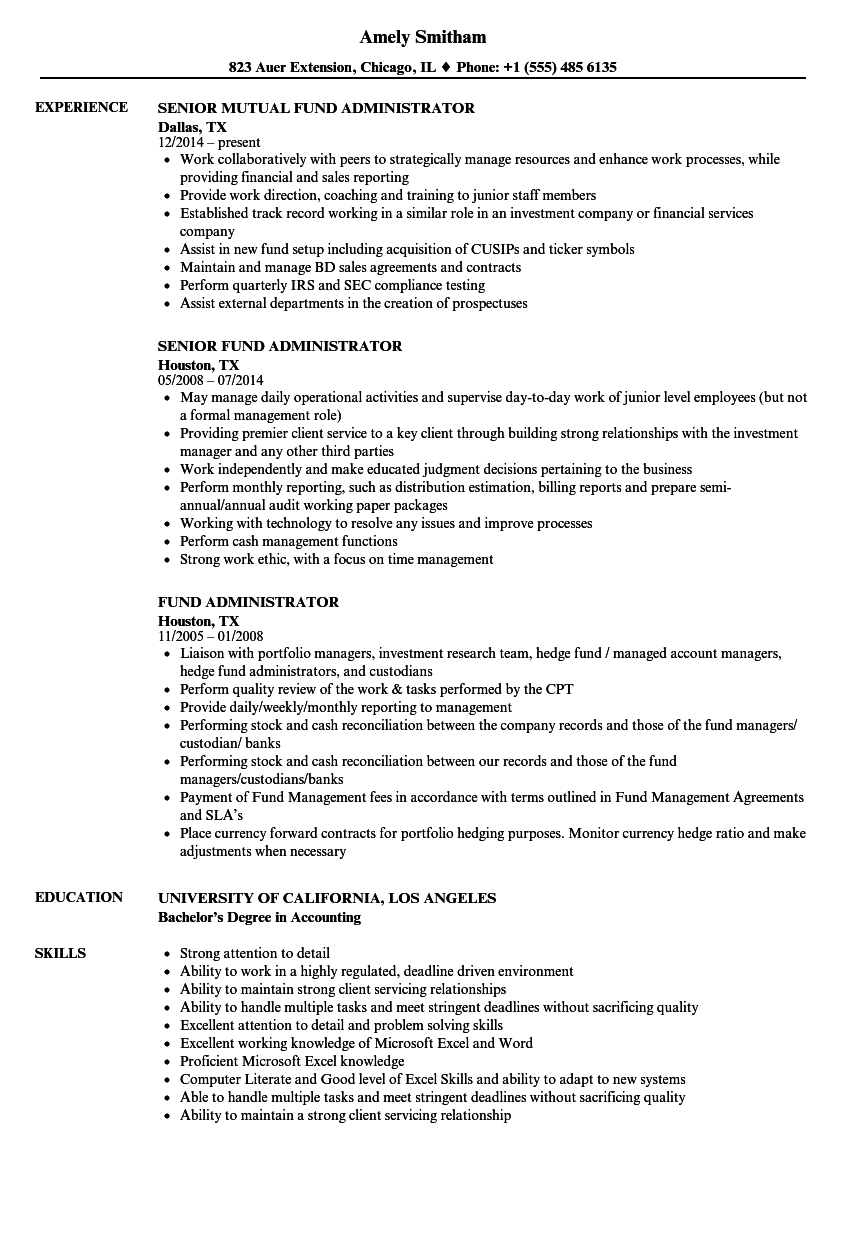 Download Fund Administrator Resume Sample As Image File
