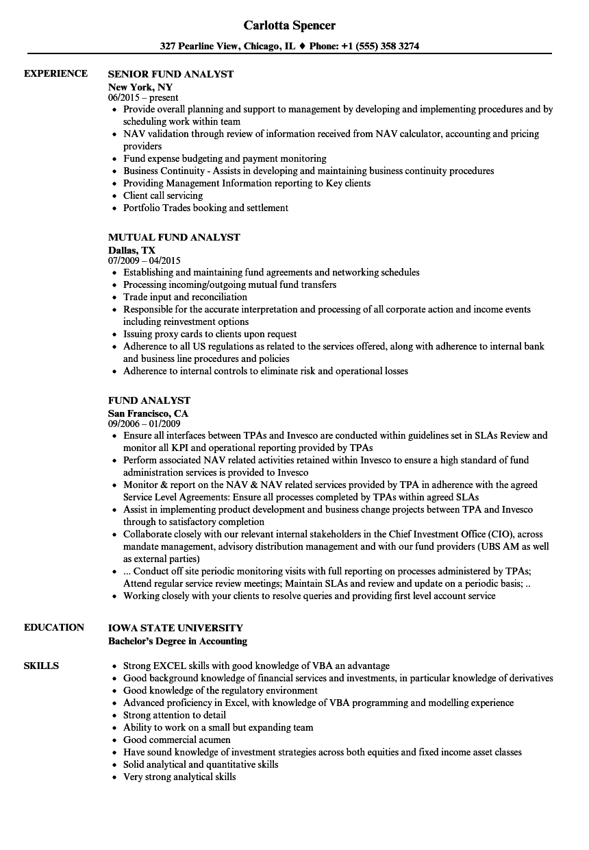 Download Fund Analyst Resume Sample As Image File