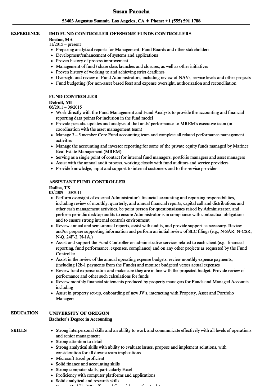 fund controller resume samples