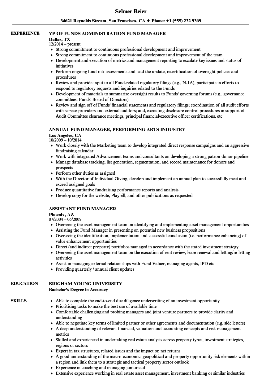 Download Fund Manager Resume Sample As Image File