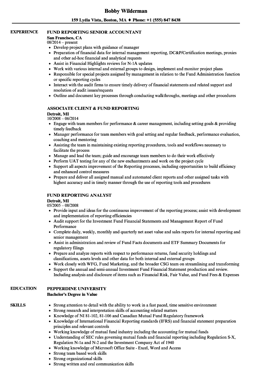 Fund Reporting Resume Samples Velvet Jobs
