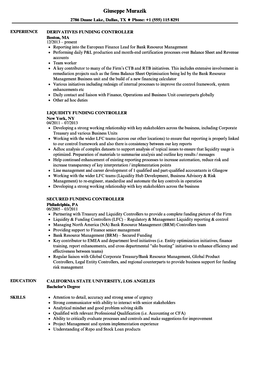 funding controller resume samples