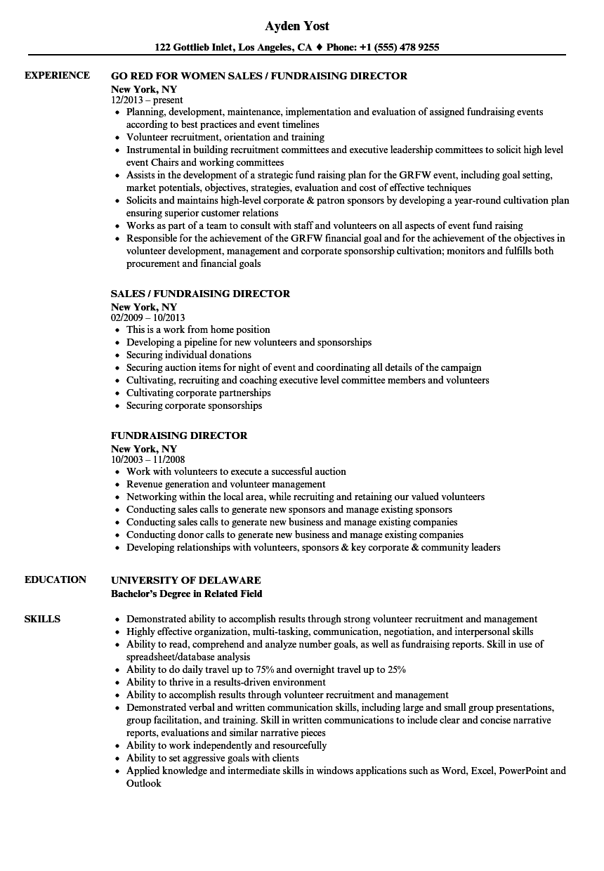 download fundraising director resume sample as image file