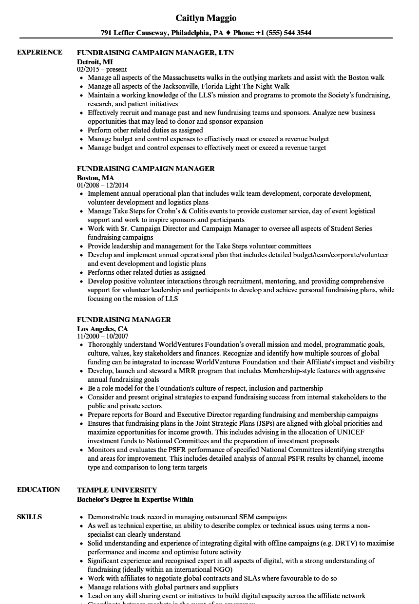 fundraising manager resume samples