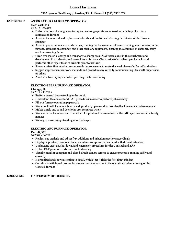 Furnace Operator Resume Samples Velvet Jobs