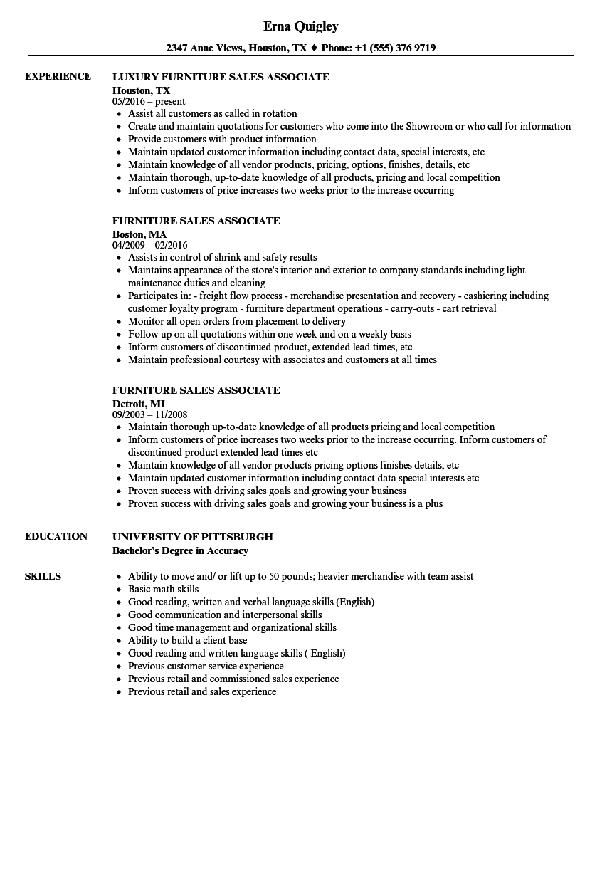 Furniture Sales Associate Resume Samples | Velvet Jobs