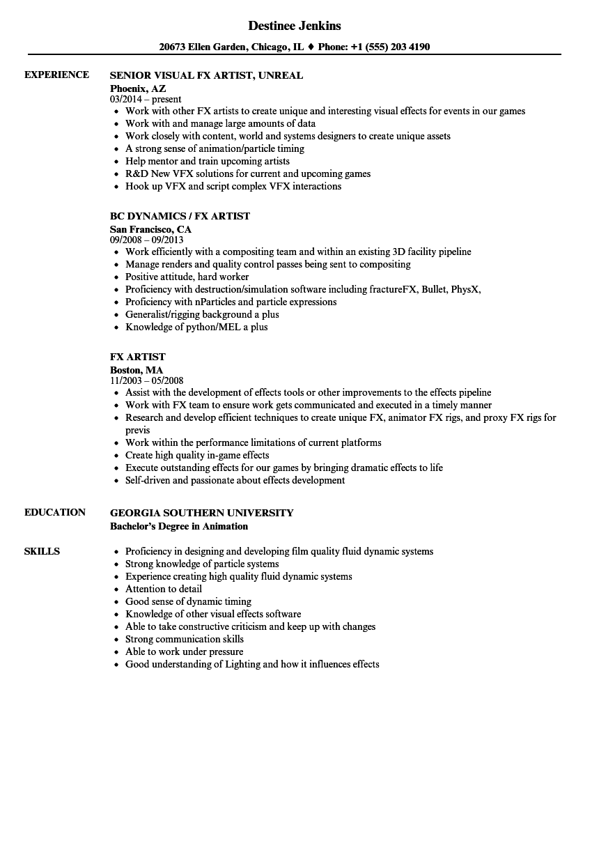 Fx Artist Resume Samples Velvet Jobs