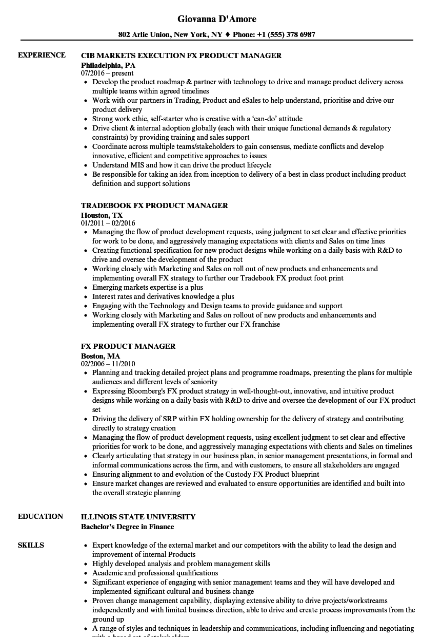 download fx product manager resume sample as image file - Product Manager Resume Samples