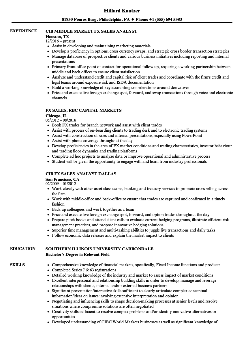 Forex resume sample