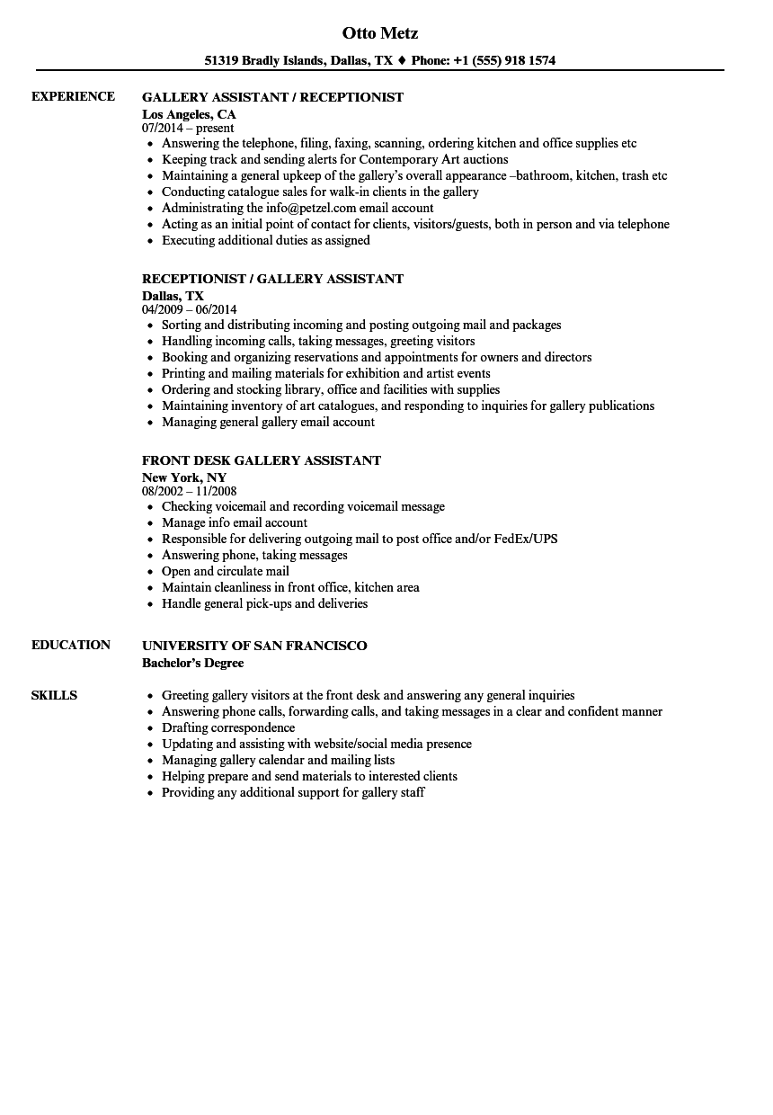 Gallery Assistant Resume Samples Velvet Jobs