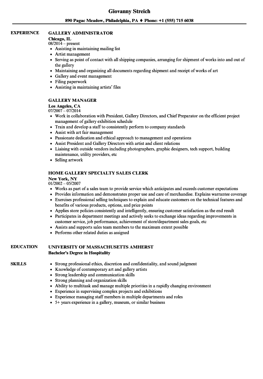art gallery resume