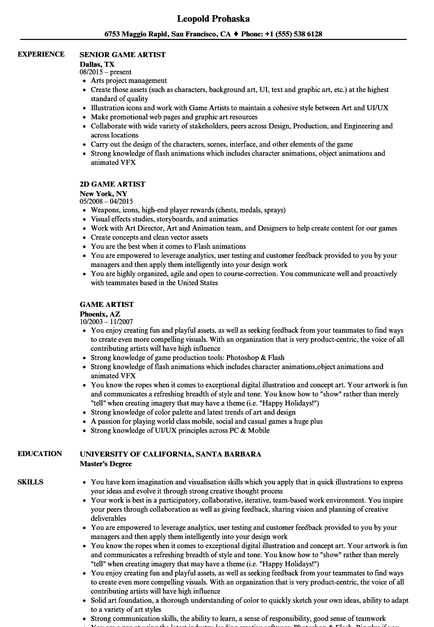 game artist resume samples velvet jobs