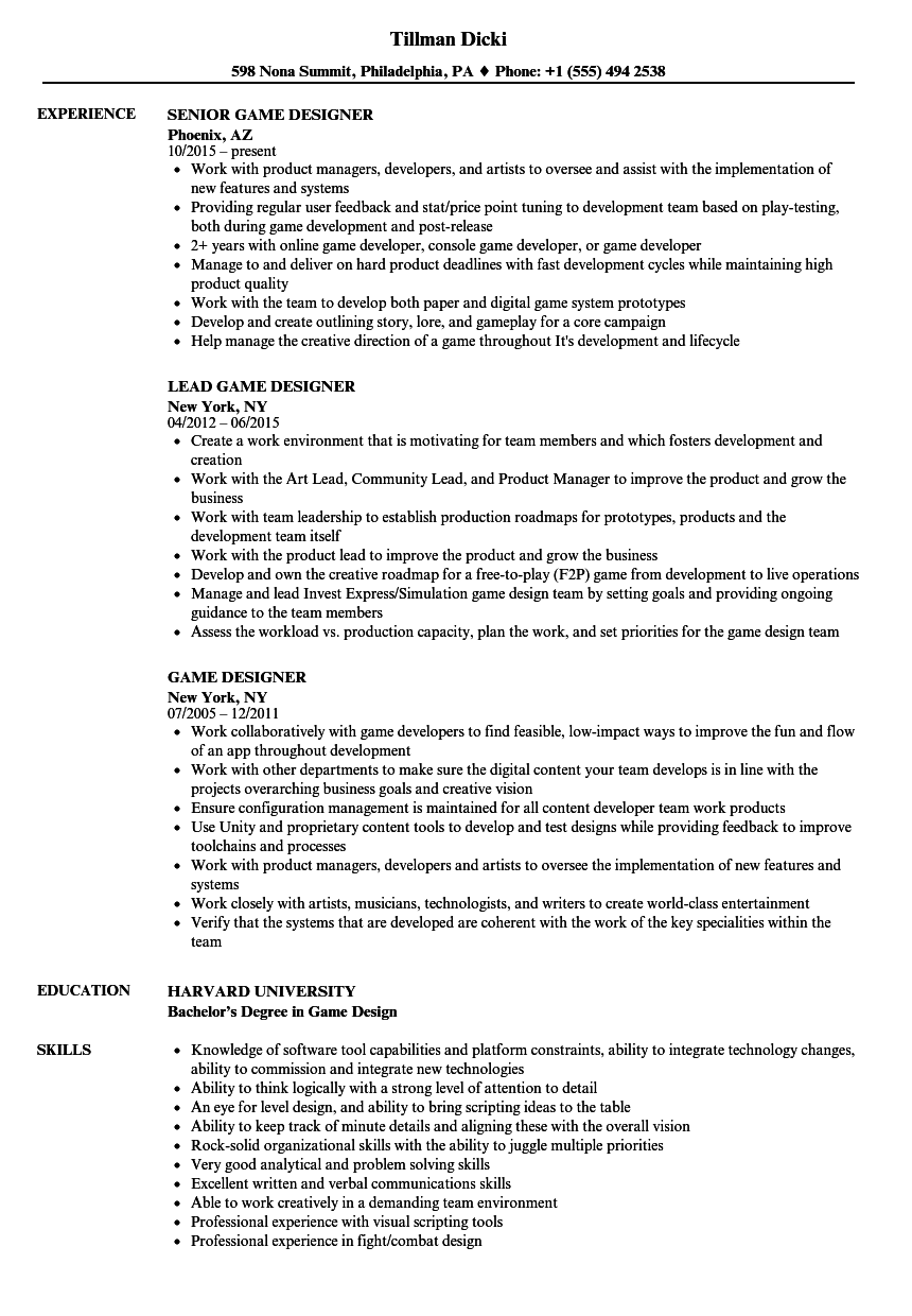 game designer resume samples velvet jobs