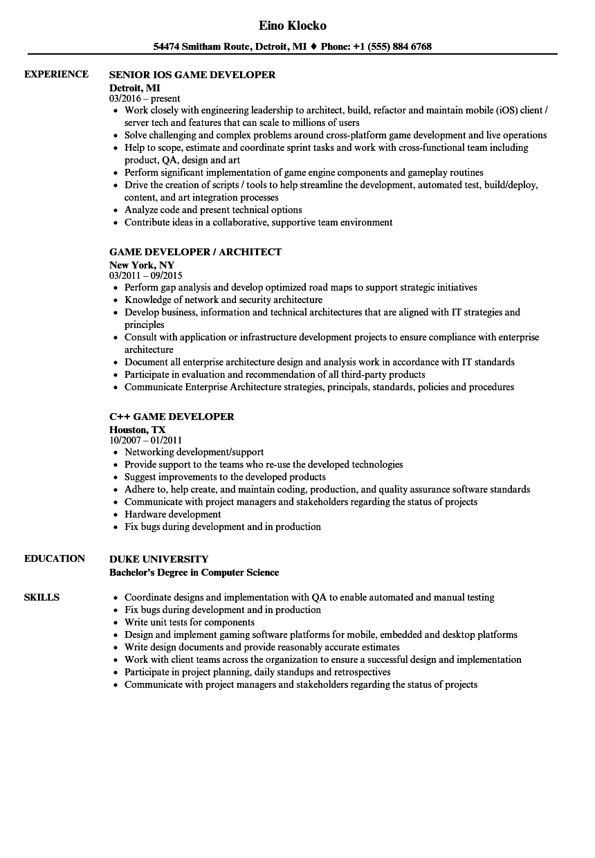 Game Developer Resume Samples | Velvet Jobs