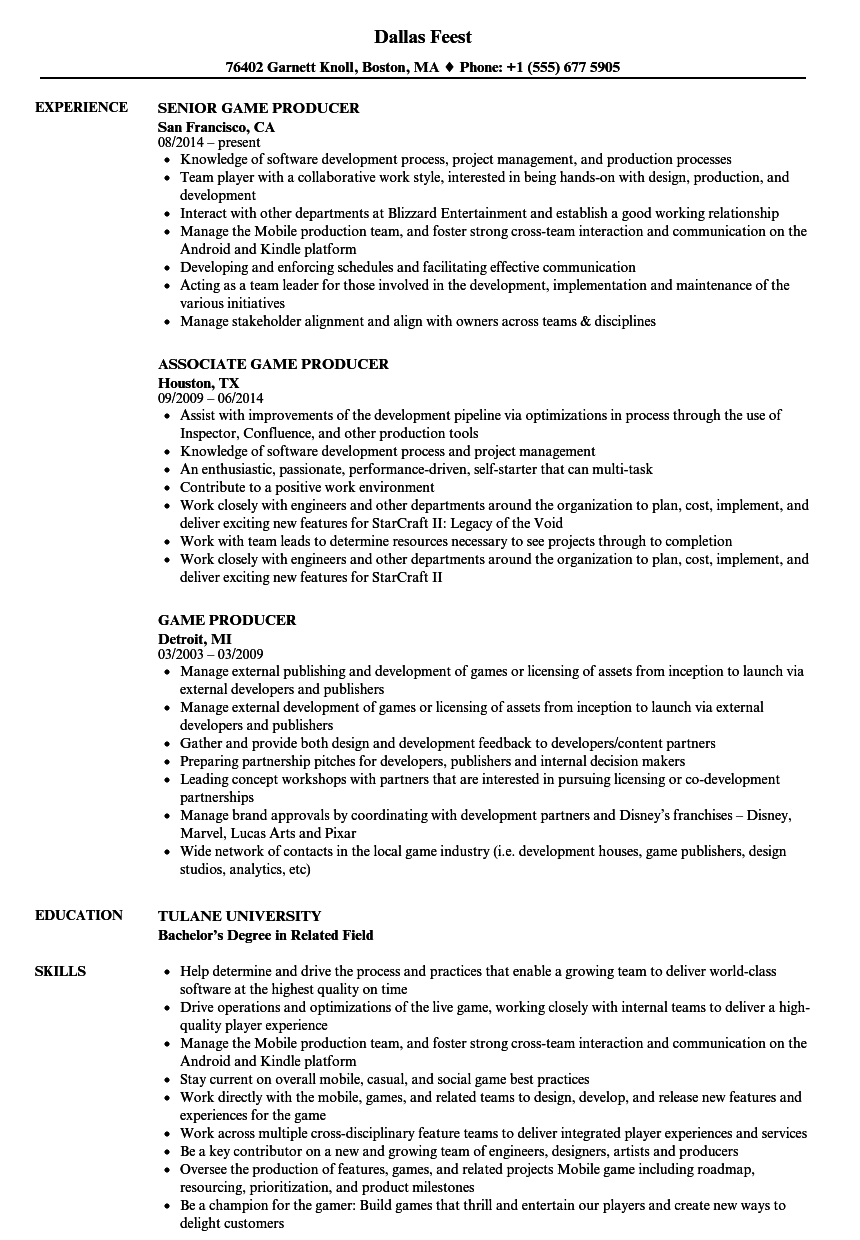 game producer resume samples