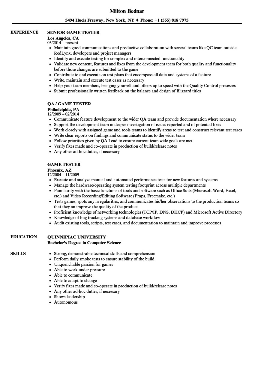 game tester resume samples velvet jobs