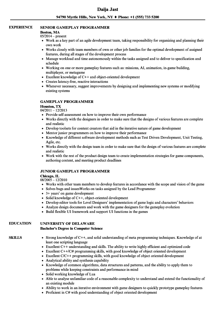 gameplay programmer resume samples