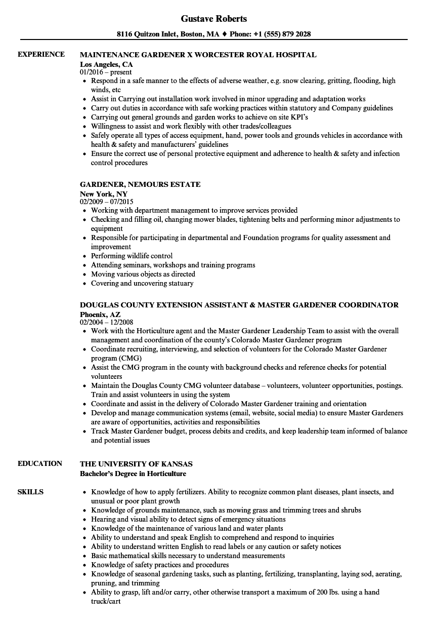 gardener resume samples velvet jobs