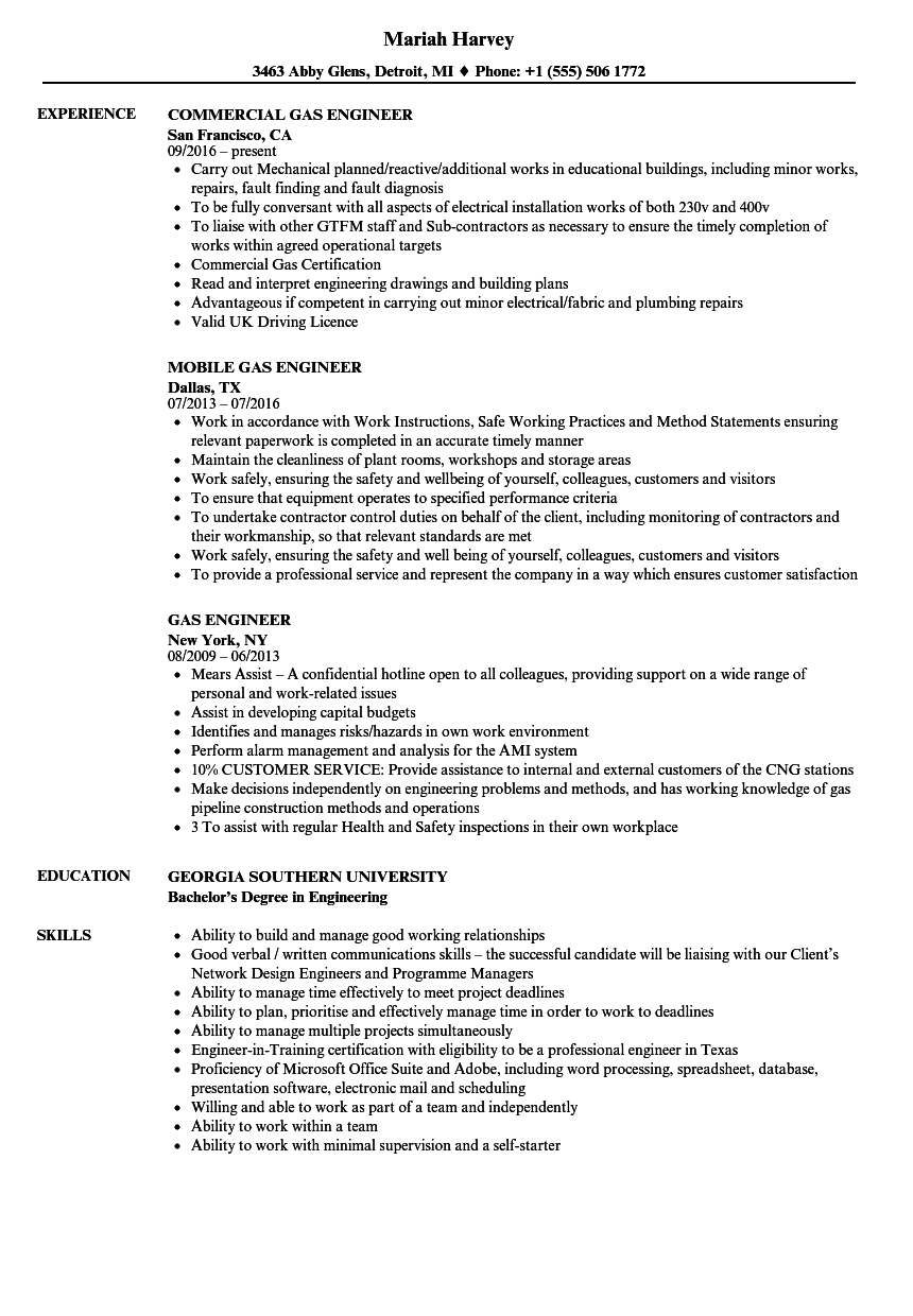 gas engineer resume samples
