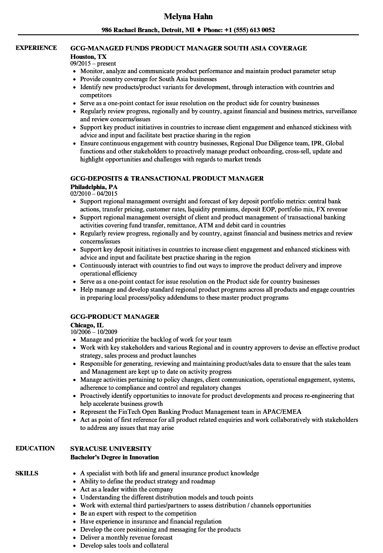 gcg product manager resume samples velvet jobs