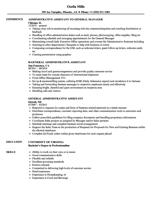 general assistant resume samples