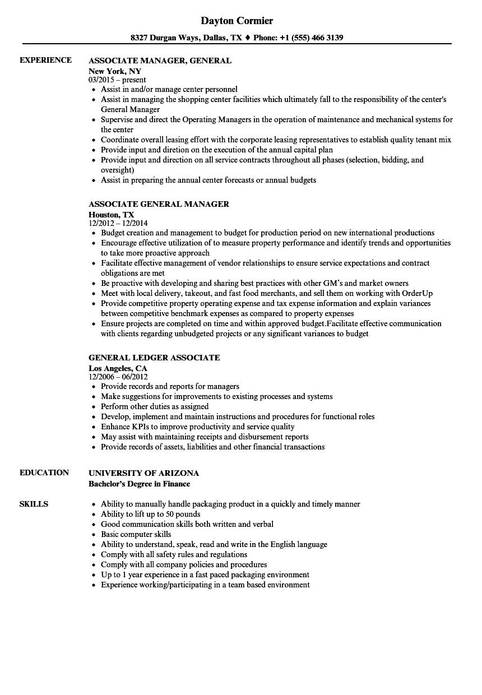 general associate resume samples