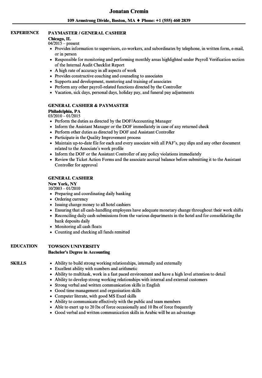 General Cashier Resume Samples Velvet Jobs