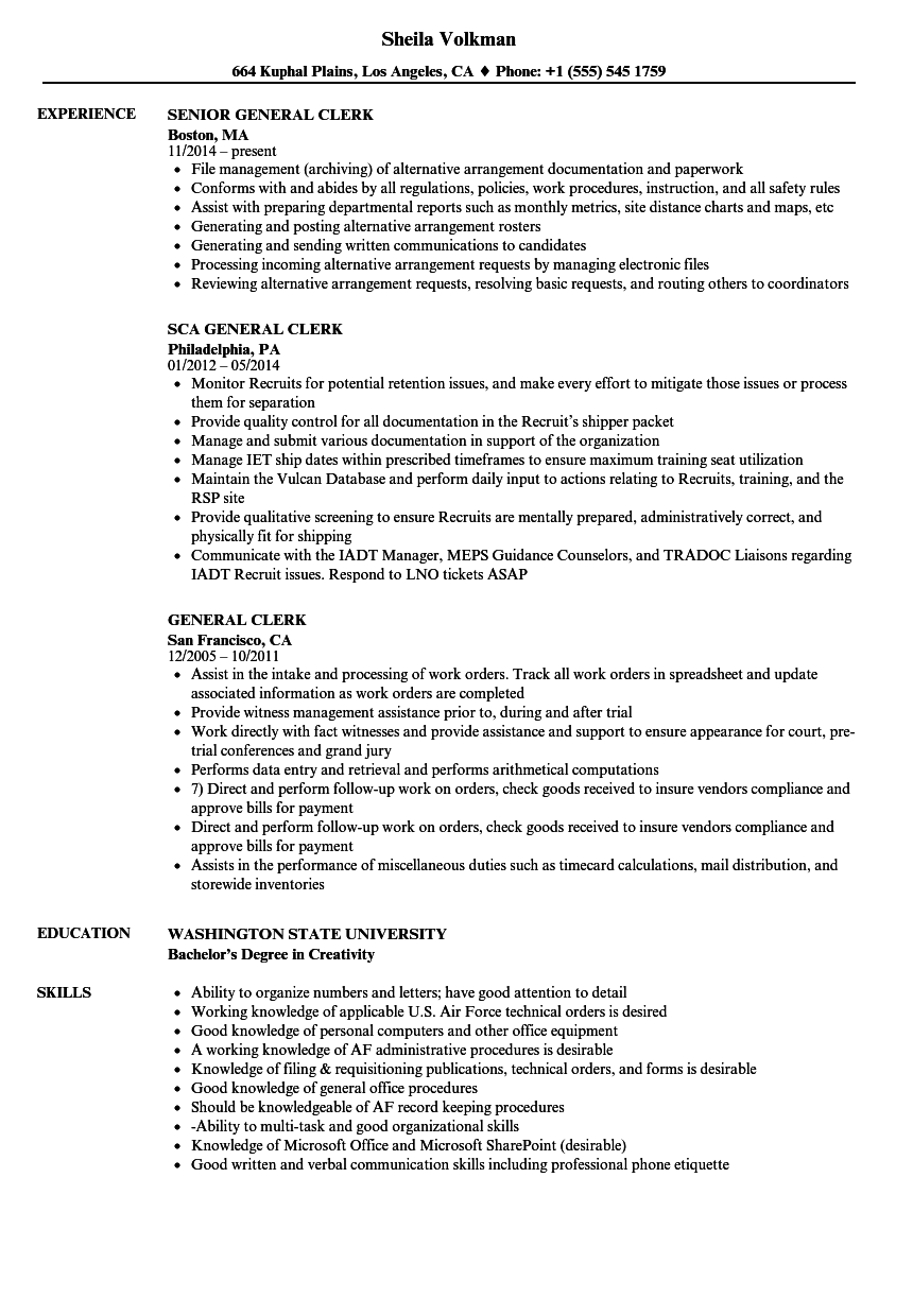 General Clerk Resume Samples Velvet Jobs